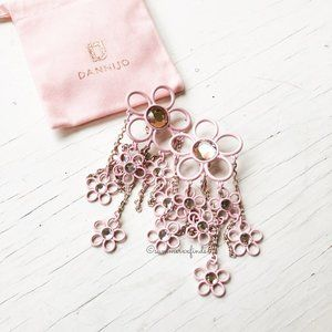 Dannijo Elyse Pink Flower Drop Earrings